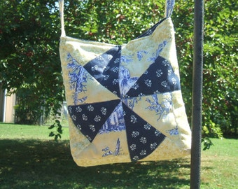 Quilt Block Purse Pinwheel Design Quilted Tote Yellow and Blue Toile Messenger Bag Style