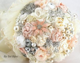 Brooch Bouquet, Blush, Ivory, Cream, Pink, Pearl Bouquet,Elegant Wedding,Vintage Style,Bridal,Fabric, Pearls, Lace, Crystals, Gatsby Wedding
