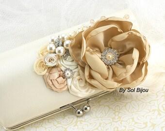 Wedding Clutch, Ivory, Tan, Beige, Champagne, Handbag, Bridesmaids, Mother of the Bride, Brooch, Crystals, Pearls, Elegant, Vintage Style