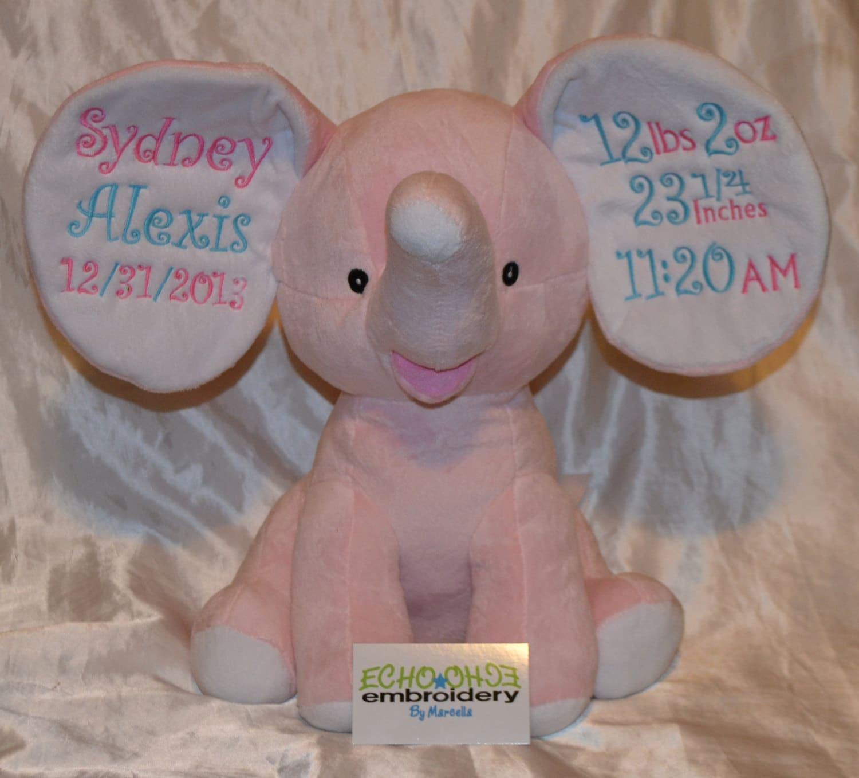 Pink Elephant Ears Birth Announcement Baby Keepsake Plush