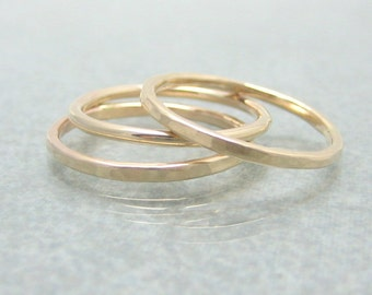 Gold Skinny Stack Ring Set - Solid 14K Gold - Gold Bands - Hammered or Round
