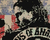 Sons of Anarchy counted Cross Stitch Pattern Jax Teller Charlie Hunnam