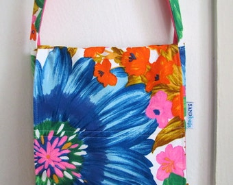 Fabulous Florals Upcycled Messenger Bag - Mid Century Colorful / Bright  Flower Print - Medium Cross Body Purse - Under 40 Summer Boho Gift