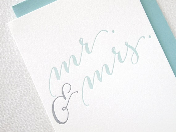 Letterpress Calligraphy Mr and Mrs Wedding Card