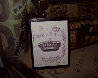 Pink CROWN Palais de Glace  plaque sign,Paris theme, PARIS decor,shabby chic,Paris bedroom decor,French bedroom
