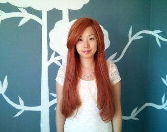 SALE: Pumpkin Spice - Dark Orange Layerless Superlong Wig - FREE SHIPPING