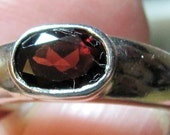 Vintage Sterling Silver and Single Cut Garnet Stone Size 6 Ring, Gorgeous Piece
