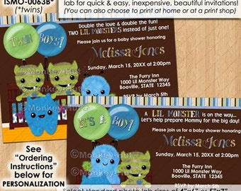 Peek-a-Boo Monster Baby Shower Invitations / peek a boo peekaboo monsters boy boys twin twins pabc/ DIGITAL INVITATION / Design#: ISMN-0063A