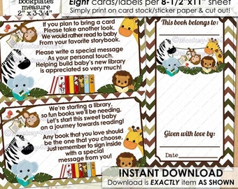 Jungle Buddies Book Plate Label plus insert / Bring a Book Instead of a Card Baby Shower books boys monkey zebra elephant / INSTANT DOWNLOAD