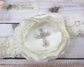 RESERVED for Amy - Ivory Baptism Headband, Satin & Chantilly Flower Crystal Cross Lace Headband or Hair Clip, Baby Child Girls
