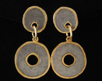 3 Inch Long Pewter and Gold Tribal Style High Fashion Earrings