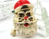 Santa Claus Christmas Brooch Vintage 1950s Goldtone Enameled Mid Century Broach Pin