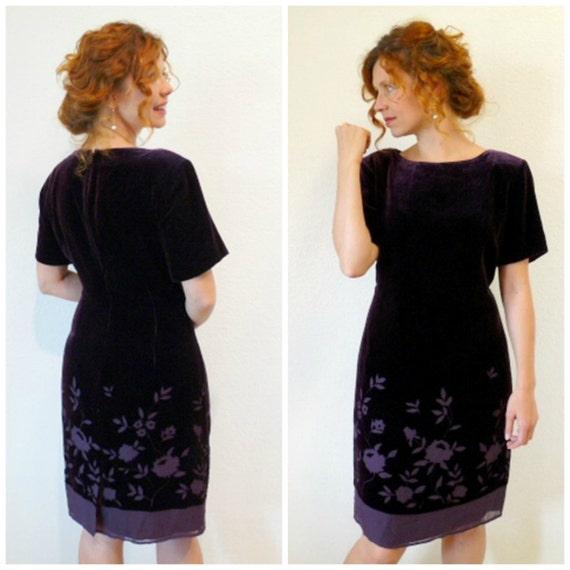 Vintage 80s Velvet Dress, Eggplant cutout Evening Wiggle Party Dress S/M
