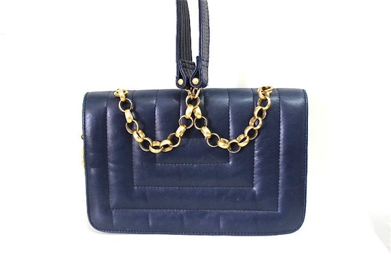 SALE Authentic bag Nave blue Jay Herberts by Sharif  Quilted Leather Purse Gold Chain Shoulder Bag