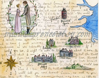 Emma Map art print.  8x10. Jane Austen art. SALE enter HOLIDAY coupon code to receive 30% off all orders over 15 dollars