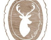Faux Bois Print - Hello My Deer  - Deer Silhouette - White and  Brown Woodgrain Wood Slice Art Print  - 8 x 10 Woodland Wall Art
