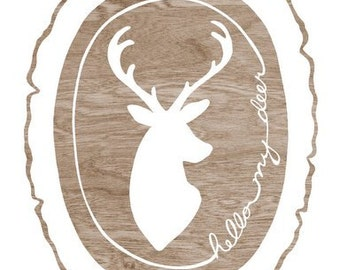 Hello My Deer, Deer Silhouette, White Deer Head Art, Woodgrain Wood Slice Art Print, 8 x 10 Woodland Wall Art, Baby Room Decor, Woodland Art