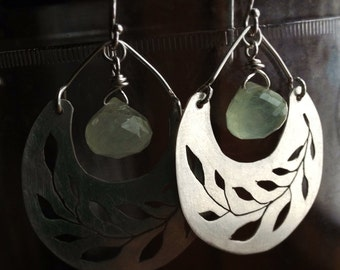 Recycled sterling silver vine dingle dangle earrings with faceted prehnite briolette a