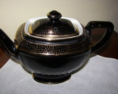 Hall Black  & Gold Hollywood  6 Cups Teapot