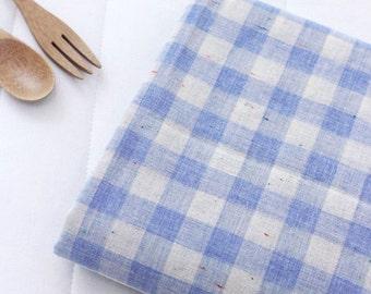 Popcorn style Blue Check Gauze cotton, U7179