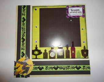 Halloween - Witches - Broom Parking Only 8 x 8 scrapbook page