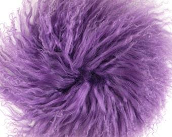 "Make New Doll Hair or Wig for Blythe Pullip BJD-6"" long curly hair Tibetan lambskin-lambs wool--Purple"