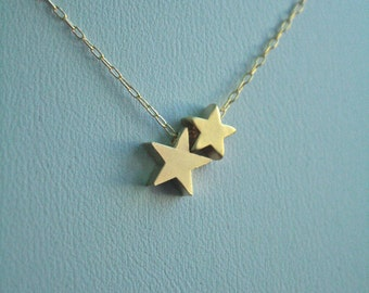Double Star Gold Necklace. Big Sister/ Little Sister, Mentor, Mother Daugther, Sorority Sisters