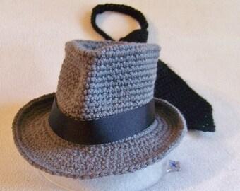 Newborn Photo Prop - Baby Fedora - Panama Hat - Baby Boy Fedora Hat And Tie - Fedora - Little Boy Tie - Fedora Hat - Men Fedora