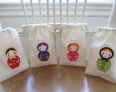 Set of 4 Colorful Russian Dolls Gift Bags - SMALL - Drawstring Bags - Matryoshka Babushka Favor Bag