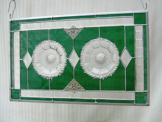 1920s Heisey Depression Glass Stained Glass Plate Panel Colonal Pattern Dishes