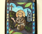 Retablo Retablos Art4thesoul Saint Francis Animal Nature lover Valentine gift for lover St Francis of Assisi - retablo PRINT