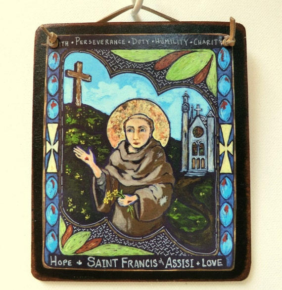 Saint Francis of Assisi Animal lover Nature environment Spanish folk art St Francis retablo confirmation gift communion gift ecology