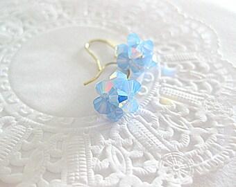 Blue opalescent swarovski crystal earrings. Dainty petite beaded swarovski blue opal earrings. Something blue wedding jewelry