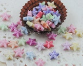 CRAZY DEAL - 10mm x 10mm Mix colour Star Shape Acrylic Beads - 50 pieces  -- Handmade Jewelry supplies