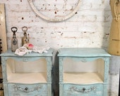Painted Cottage Chic Pair of Shabby White Romantic French Night Table NT614