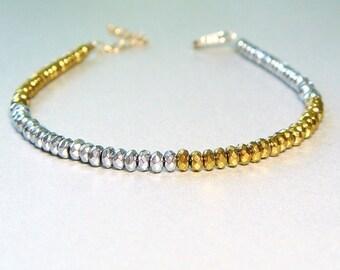Mixed Metal Jewelry, Mixed Metals Bracelet, Gold and Silver Pyrite Bracelet, Gold Bracelet, Silver Bracelet, Stacking Bracelet - Harlequin