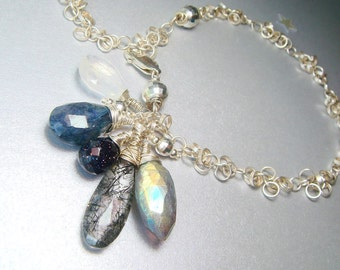 Labradorite Bracelet, Gemstone Charm Bracelet, AAA Gemstones, Mystic Labradorite, Rutilated Tourmalinated Rock Quartz, Spectrolite