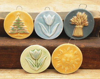 8 ceramic artisan Holiday chandelier window Christmas tree ornaments