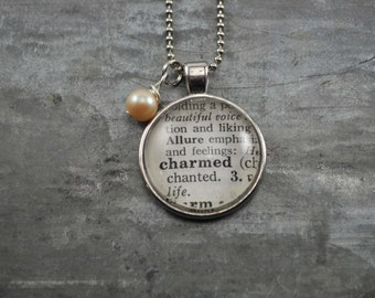 Vintage Dictionary Word Necklace Pendant CHARMED