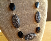 Black and Silver Wire Wrapped Beaded Necklace Bold Chunky Large Big Beads Damask Statement Necklace