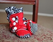 Red and Black  Baby Boots Size 0-3 months
