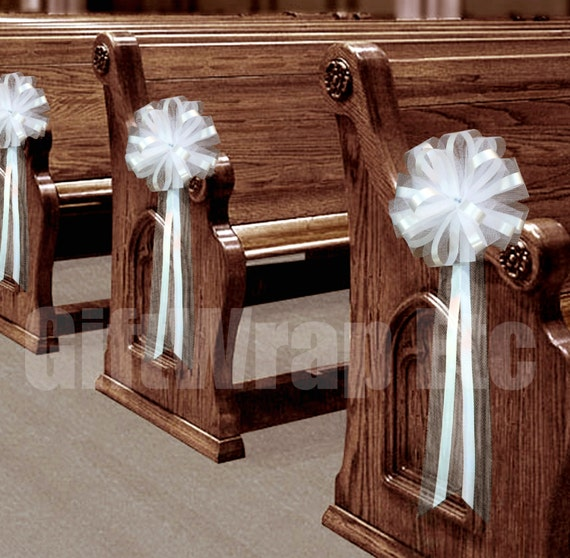 6 large white tulle pull bows wedding pew by giftwrapetc - Bow decorations for weddings ...