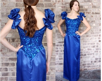 1980s gown, Mike Benet dress, blue satin and sequins, sheath dress, prom dress, size S/M