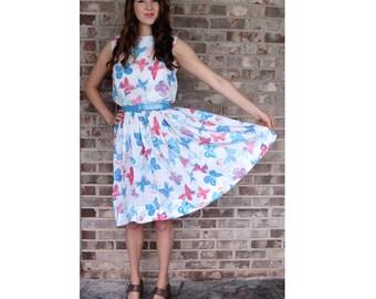 1950s day dress, butterfly dress, pink blue, watercolor look, novelty dress, size S
