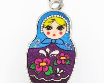SALE - Russian Nesting Doll Necklace - Matryoshka Girl's Necklace - Blonde with Purple Dress - Back to School - Friendship Necklace