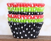 Pirate Party Polka Dot Cupcake Liners in Lime, Red and Black (60 count - 20 of each)