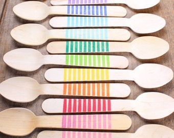 """Wooden Spoons, Stripe Stamped Spoon, Wedding Utensils, Wooden Ice Cream Spoons, Wooden Utensils (5.5"""" -18 ct) PICK YOUR COLORS"""