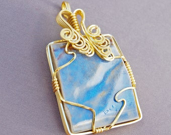Blue Recycled Tile Wire Wrapped Cloud Inspired Pendant