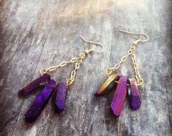 Magic 3 purple titanium quartz crystal earrings