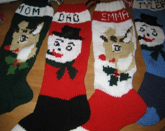 Christmas Stockings Set Of Four, Personalized Knit Stockings, Personalized Set Christmas Stockings,